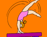 Coloring page Exercising on pommel horse painted byEleni