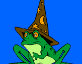 Coloring page Magician turned into a frog painted bypalencia