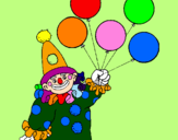 Coloring page Clown with balloons painted byRutuja