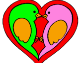 Coloring page Birds in love painted bytwo birds kissing