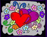 Coloring page Hearts and flowers painted byKay