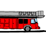 Coloring page Fire engine with ladder painted byEUGENE