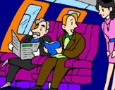 Coloring page Aeroplane passengers painted byjose