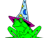 Coloring page Magician turned into a frog painted bycynthia