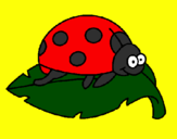 Coloring page Ladybird on a leaf painted byBRITTANY