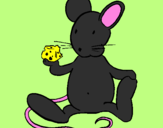 Coloring page Rat with cheese painted byCandie