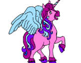 Coloring page Unicorn with wings painted byzoey