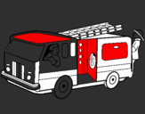 Coloring page Firefighters in the fire engine painted by9i5tyrt6789i