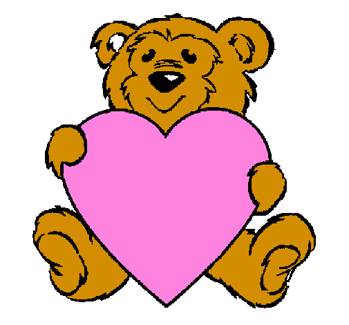 Coloring page Bear in love painted bypara itel de fer teamo