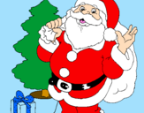 Coloring page Santa Claus and a Christmas tree painted byCupcake