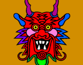 Coloring page Dragon face painted byjon-jon