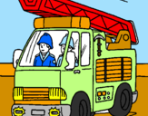 Coloring page Fire engine painted byMarga