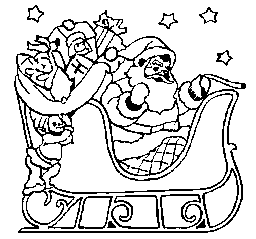 Coloring page Father Christmas in his sleigh painted byyuan