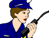 Coloring page Police officer with walkie-talkie painted byyboty