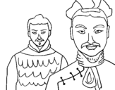Coloring page Chinese warriors painted byumbrella