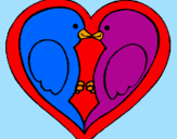 Coloring page Birds in love painted bysara