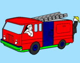 Coloring page Firefighters in the fire engine painted byEUGENE
