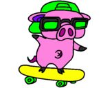 Coloring page Graffiti the pig on a skateboard painted bykayla im evil