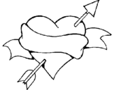 Coloring page Heart, arrow and ribbon painted byyeicari