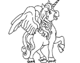 Coloring page Unicorn with wings painted byi love you