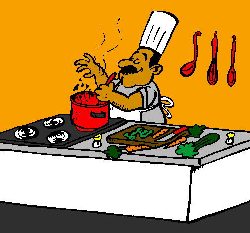 Coloring page Cook in the kitchen painted bySammy