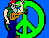 Coloring page Hippy musician painted byBailey