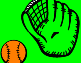 Coloring page Baseball glove and baseball ball painted bymocin
