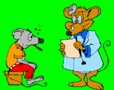 Coloring page Doctor and mouse patient painted bykoty