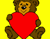 Coloring page Bear in love painted byShianne