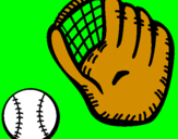 Coloring page Baseball glove and baseball ball painted bychas