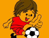 Coloring page Boy playing football painted byliverpool fan