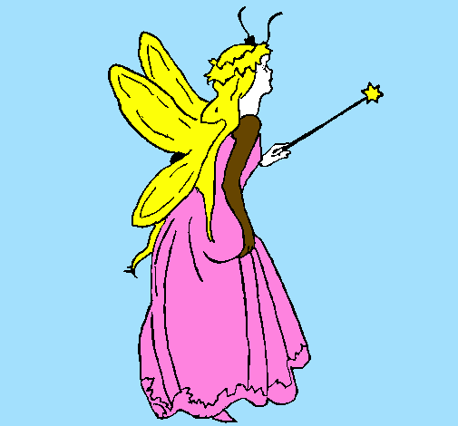 Coloring page Fairy with long hair painted bylana