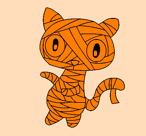 Coloring page Doodle the cat mummy painted byMARCOS MUÑOZ
