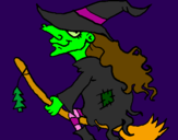 Coloring page Witch on flying broomstick painted bypatrick