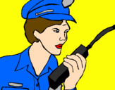 Coloring page Police officer with walkie-talkie painted byRosalea