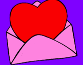 Coloring page Heart in an envelope painted byAlyssa