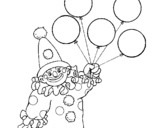 Coloring page Clown with balloons painted byclown