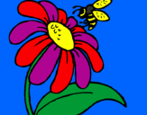 Coloring page Daisy with bee painted byjulia