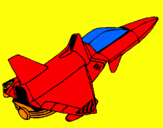Coloring page Rocket ship painted byL.J.