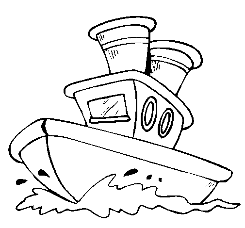 Coloring page Boat at sea painted byboat