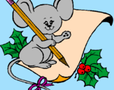 Coloring page Mouse with pencil and paper painted byDANI