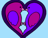Coloring page Birds in love painted byzoe