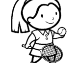 Coloring page Female tennis player painted bytennis player uncolored