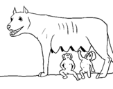 Coloring page Wolf with Romulus and Remus painted byo