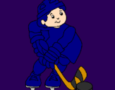 Coloring page Little boy playing hockey painted byjacob