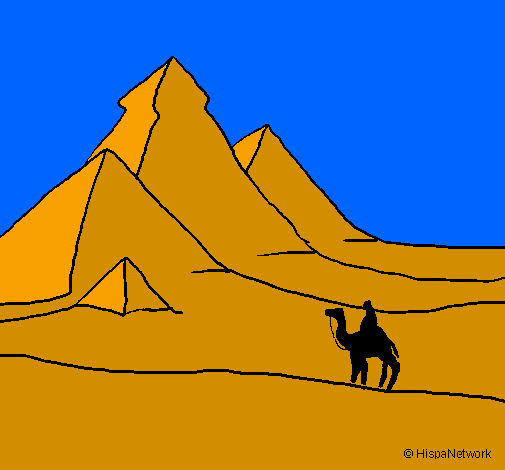 Coloring page Landscape with pyramids painted byPeter