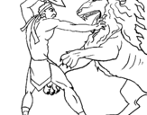Coloring page Gladiator versus a lion painted bycmr
