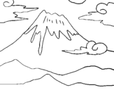 Coloring page Mount Fuji painted bysara