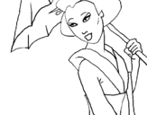 Coloring page Geisha with umbrella painted bysara