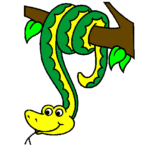 Coloring page Snake hanging from a tree painted bysnake